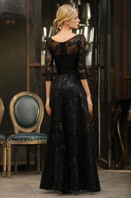 Round Neckline Half Sleeves A-line Floor Length Black Prom Dresses_12