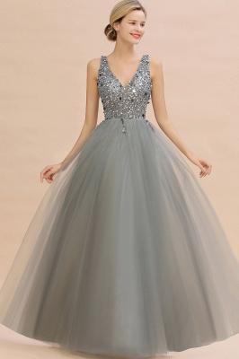 Straps V-neck Sheer Floor Length A-line Tulle Prom Dresses_9