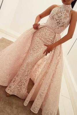 Illusion Overskirt Sheath Popular Unique High-Neck Sleeveless Puffy Lace Prom Dress_4