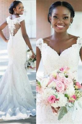 Elegant V-neck Sheath Sleeveless Long-Train Tulle Lace Sexy Wedding Dress_2