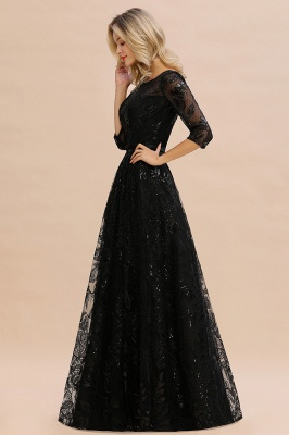 Round Neckline Half Sleeves A-line Floor Length Black Prom Dresses_6