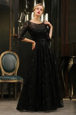 Round Neckline Half Sleeves A-line Floor Length Black Prom Dresses_9