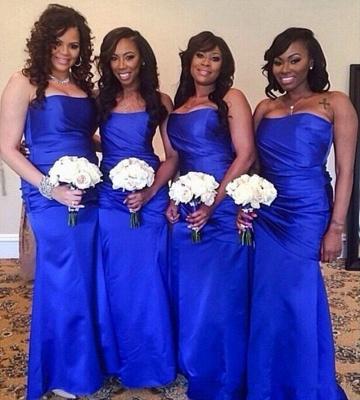 Elegant Royal Blue Strapless Floor Length Long Ruched Bridesmaid Dress_3