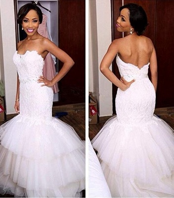 Tiered Tulle Appliques Sweetheart Crystal Mermaid Wedding Dresses_2