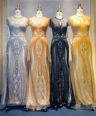 Luxury Beaded Jewel Cap Sleeves Fit and Flare Prom Dresses_36