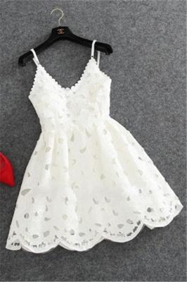 Short Mini Lace Cute White Spaghettis-Strap Homecoming Dress_2