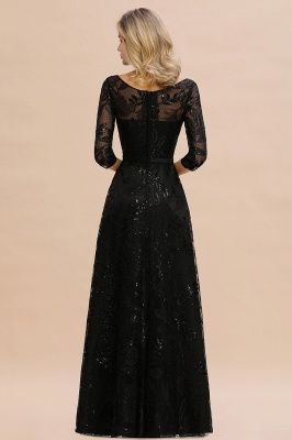 Round Neckline Half Sleeves A-line Floor Length Black Prom Dresses_4
