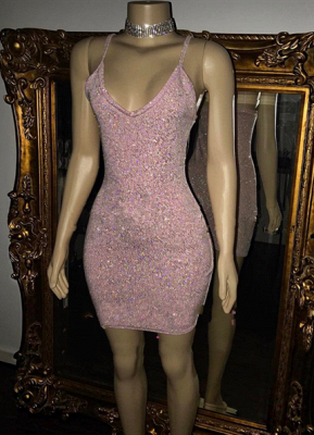 Pretty Spaghetti-Straps Sequins Short Homecoming Dress_2