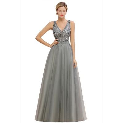 Straps V-neck Sheer Floor Length A-line Tulle Prom Dresses_14