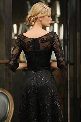 Round Neckline Half Sleeves A-line Floor Length Black Prom Dresses_10
