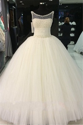 Gorgeous Princess Sleeveless Bridal Gowns Tulle Pearls Beadings Wedding Dresses_2