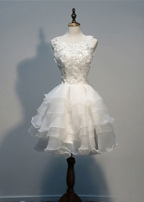 Sleeveless Lace-Appliques Lace Hot White Layers Organza Short Homecoming Dress_2