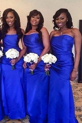 Elegant Royal Blue Strapless Floor Length Long Ruched Bridesmaid Dress_2
