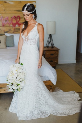 Deep V-Neck Sexy Mermaid Wedding Dresses | Lace Sleeveless Trumpet Bridal Gowns_5