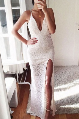 Sexy Lace Mermaid Prom Dress 2018 Front Split Spaghetti Strap Evening Gowns_2