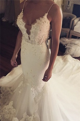 Spaghetti Straps Sexy Mermaid Wedding Dress | Appliques Tulle Bridal Gowns_2