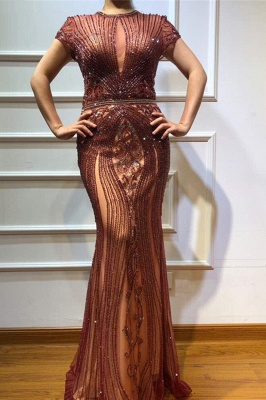 Luxury Beaded Jewel Cap Sleeves Fit and Flare Prom Dresses_2