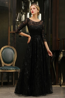 Round Neckline Half Sleeves A-line Floor Length Black Prom Dresses_16