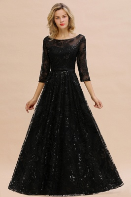 Round Neckline Half Sleeves A-line Floor Length Black Prom Dresses_5