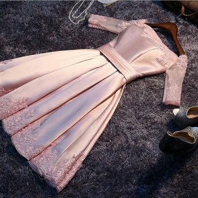 Short A-Line Off-the-Shoulder Half Sleeves Sash Pink Homecoming Dresses_3