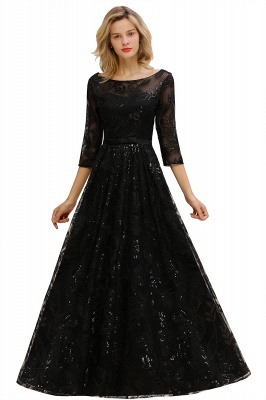 Round Neckline Half Sleeves A-line Floor Length Black Prom Dresses_11