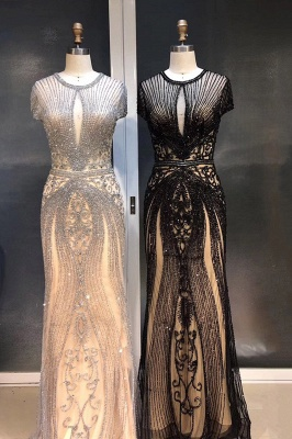 Luxury Beaded Jewel Cap Sleeves Fit and Flare Prom Dresses_37