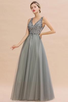 Straps V-neck Sheer Floor Length A-line Tulle Prom Dresses_8