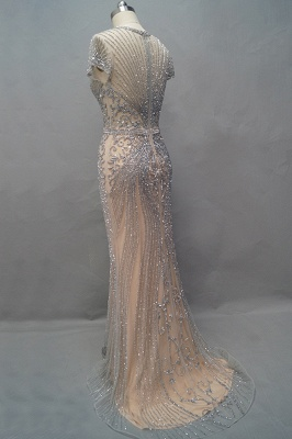 Luxury Beaded Jewel Cap Sleeves Fit and Flare Prom Dresses_22