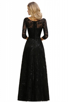 Round Neckline Half Sleeves A-line Floor Length Black Prom Dresses_15