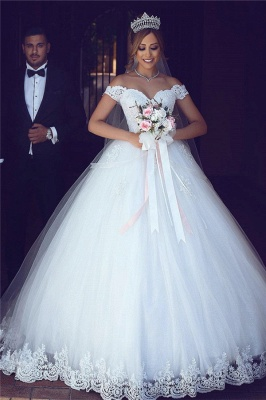 Amazing Lace Tulle Off-the-shoulder Appliques Puffy Wedding Dresses_3