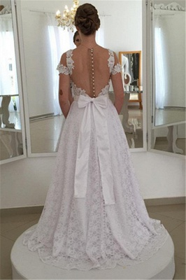 Pearls Short-Sleeve Long A-line White Elegant Lace Bow Wedding Dress_3