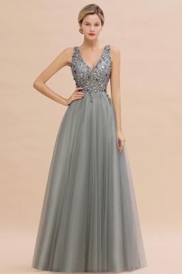 Straps V-neck Sheer Floor Length A-line Tulle Prom Dresses_7