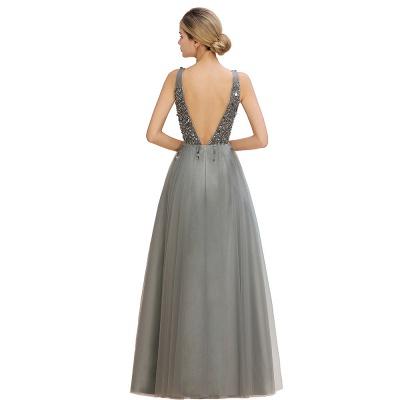 Straps V-neck Sheer Floor Length A-line Tulle Prom Dresses_18