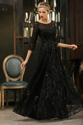 Round Neckline Half Sleeves A-line Floor Length Black Prom Dresses_8
