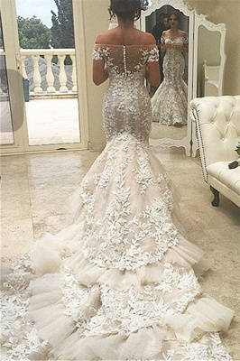 Elegant Tiered Appliques Off-the-Shoulder Tulle Mermaid Wedding Dress with Buttons_3