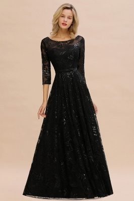 Round Neckline Half Sleeves A-line Floor Length Black Prom Dresses_7