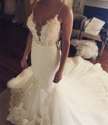 Spaghetti Straps Sexy Mermaid Wedding Dress | Appliques Tulle Bridal Gowns_3