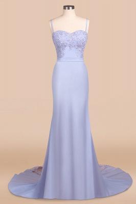Spaghetti Straps Open Back Lace Mermaid Prom Dresses | Elegant Evening Dresses long_4