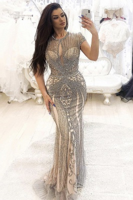 Luxury Beaded Jewel Cap Sleeves Fit and Flare Prom Dresses_1