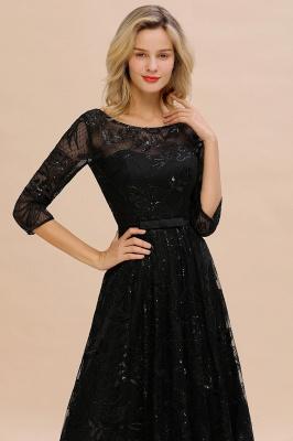 Round Neckline Half Sleeves A-line Floor Length Black Prom Dresses_3