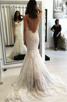 Sexy Sweetheart Mermaid Lace Sweep Train Backless Wedding Dresses_2