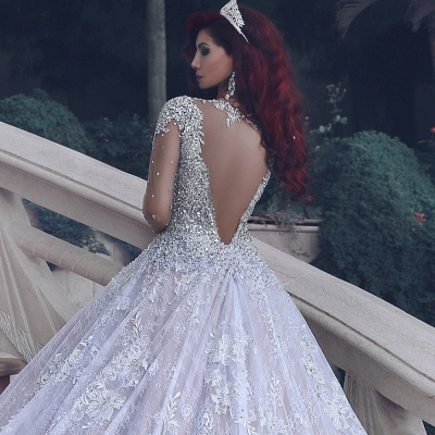 Luxury Lace Ball Gown Wedding Dresses | Cathedral Train Beading Bridal Gowns_4