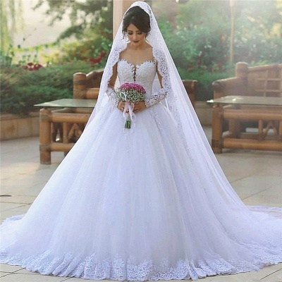 Tulle Ball Long-Sleeves Elegant Popular Appliques Wedding Dresses_3