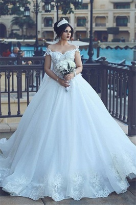 Vintage Off-the-Shoulder Wedding Dresses Crystal Tulle Ball Appliques Bridal Gowns_2