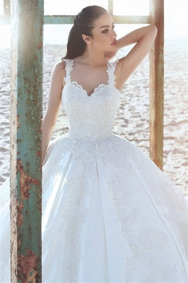 Ball Vintage Appliques Sleeveless Satin Straps Wedding Dresses_3