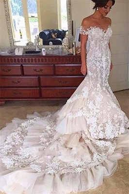 Elegant Tiered Appliques Off-the-Shoulder Tulle Mermaid Wedding Dress with Buttons_2