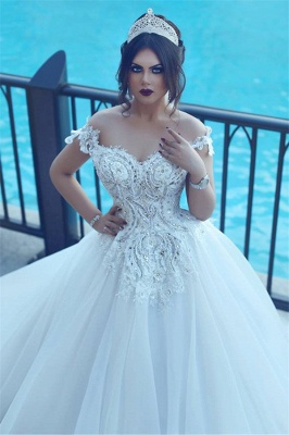 Vintage Off-the-Shoulder Wedding Dresses Crystal Tulle Ball Appliques Bridal Gowns_3