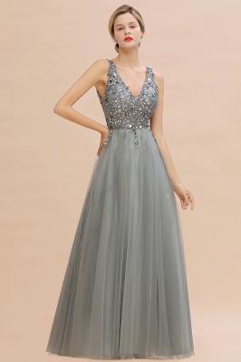 Straps V-neck Sheer Floor Length A-line Tulle Prom Dresses_10