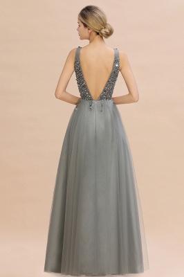 Straps V-neck Sheer Floor Length A-line Tulle Prom Dresses_13