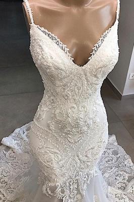 Spaghetti Straps Lace Appliques Sexy Mermaid Wedding Dresses_4